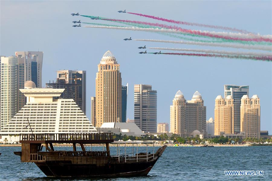 Italian airplanes perform in airshow in Doha, Qatar