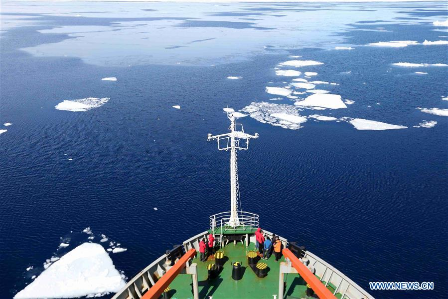 China's research icebreaker Xuelong sails at Prydz Bay in Antarctica
