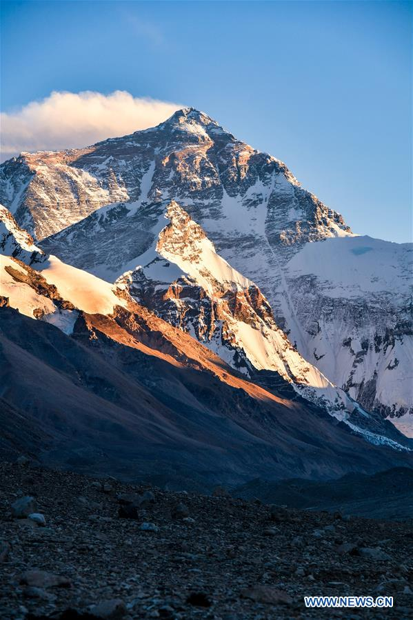 Sunset scenery of Mount Qomolangma in China's Tibet