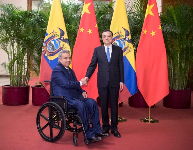 Chinese Premier Li Keqiang meets with Ecuadorian President Lenin Moreno at the Great Hall of the People in Beijing on December 13, 2018. [Photo: gov.cn]