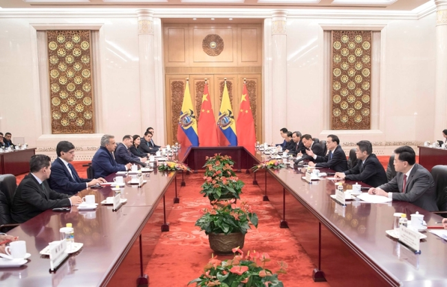 Chinese Premier Li Keqiang holds talks with Ecuadorian President Lenin Moreno at the Great Hall of the People in Beijing on December 13, 2018. [Photo: gov.cn]