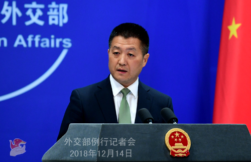 Foreign Ministry Spokesperson Lu Kang speaks at the daily press briefing on December 14, 2018. [Photo: fmprc.gov.cn]