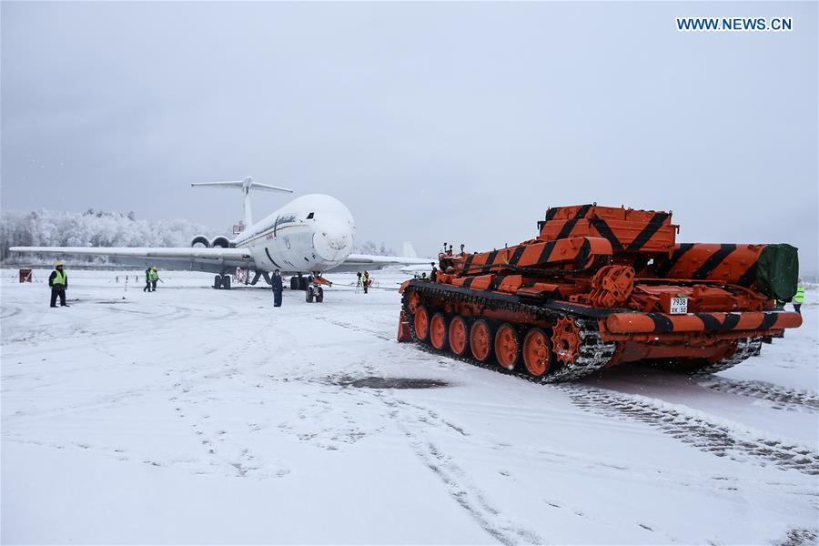 Armoured recovery vehicle shows performance at Domodedovo Airport in Moscow, Russia