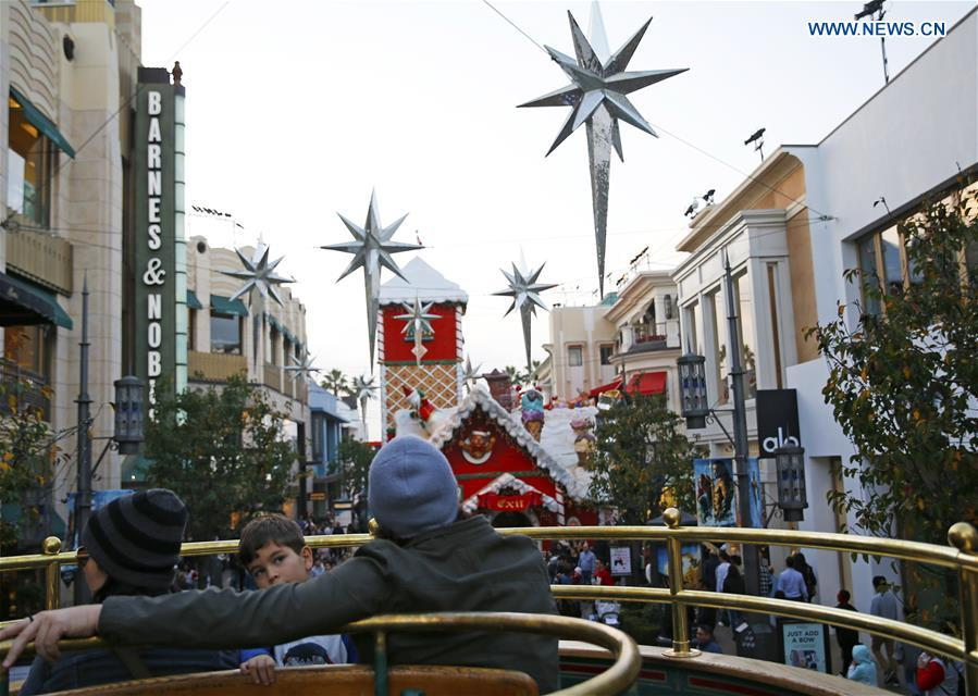 Christmas decorations set up at shopping center in Los Angeles