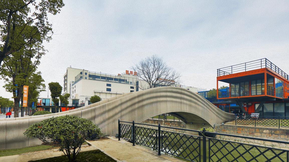 世界最大规模3D打印混凝土步行桥在上海落成