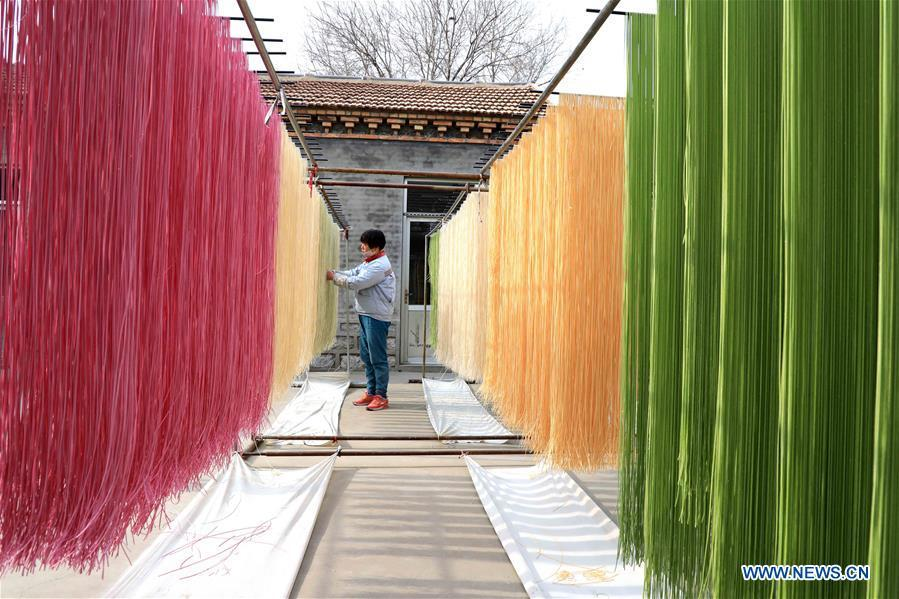 Colored noodles at workshop in Binzhou, east China's Shandong