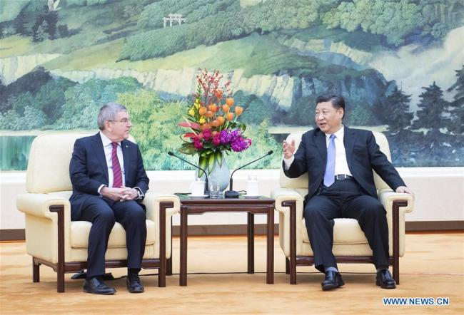 Chinese President Xi Jinping (R) meets with International Olympic Committee (IOC) President Thomas Bach at the Great Hall of the People in Beijing, capital of China, Jan. 31, 2019. [Photo: Xinhua]