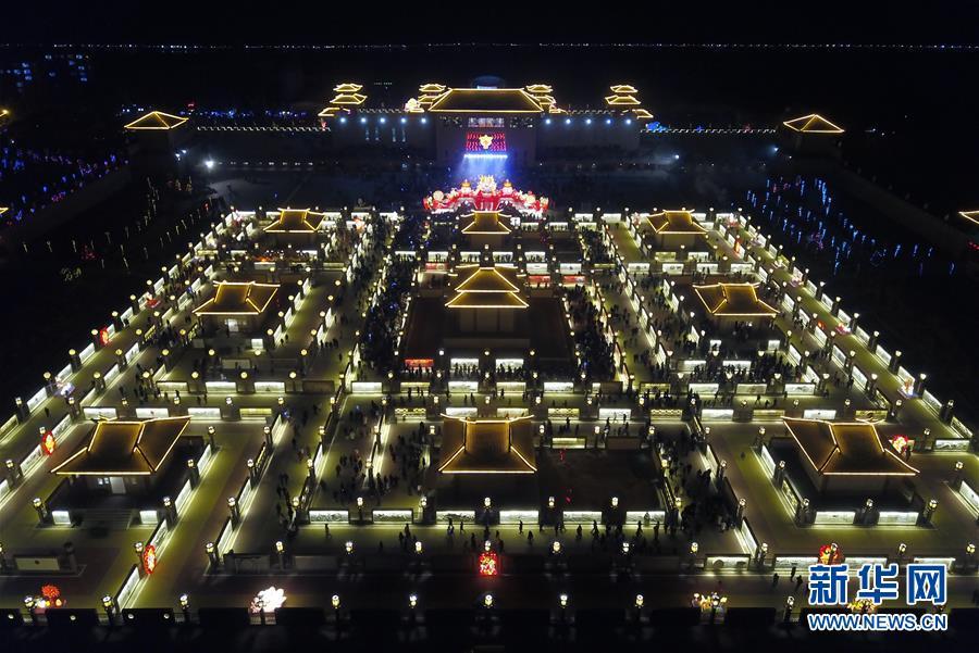 (文化)(3)甘肅張掖:九曲黃河燈陣亮燈迎客