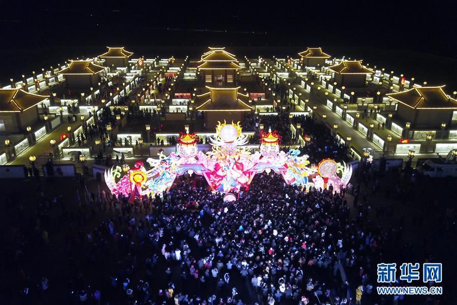 (文化)(2)甘肅張掖:九曲黃河燈陣亮燈迎客