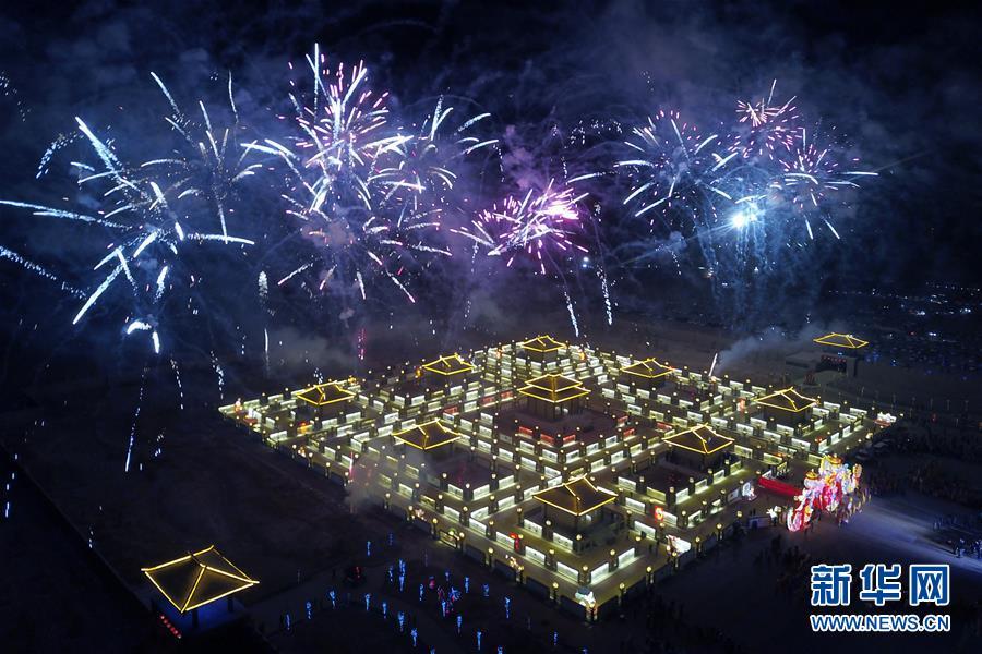(文化)(1)甘肅張掖:九曲黃河燈陣亮燈迎客