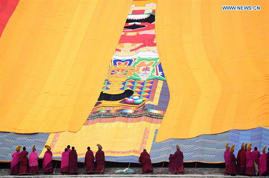 "Annual ""sunning of the Buddha"" ceremony of Labrang Monastery held in NW China's Gansu"
