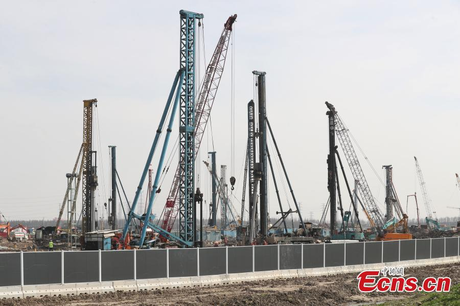 The construction site of the Tesla Gigafactory, a Tesla factory in Shanghai, China, March 7, 2019. The U.S. electric carmaker broke ground on the Shanghai factory in January. (Photo: China News Service/Zhang Hengwei)