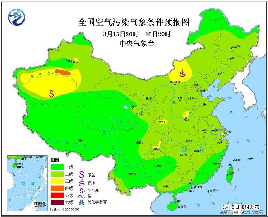 华北中南部有轻度霾湖南新疆局部大雾