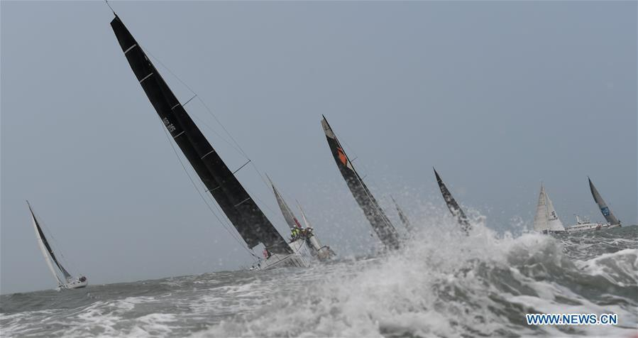 Yachts compete during the Haikou Offshore Race at the 2019 Round Hainan Regatta in Haikou, capital of south China\'s Hainan Province, March 16, 2019. (Xinhua/Yang Guanyu)