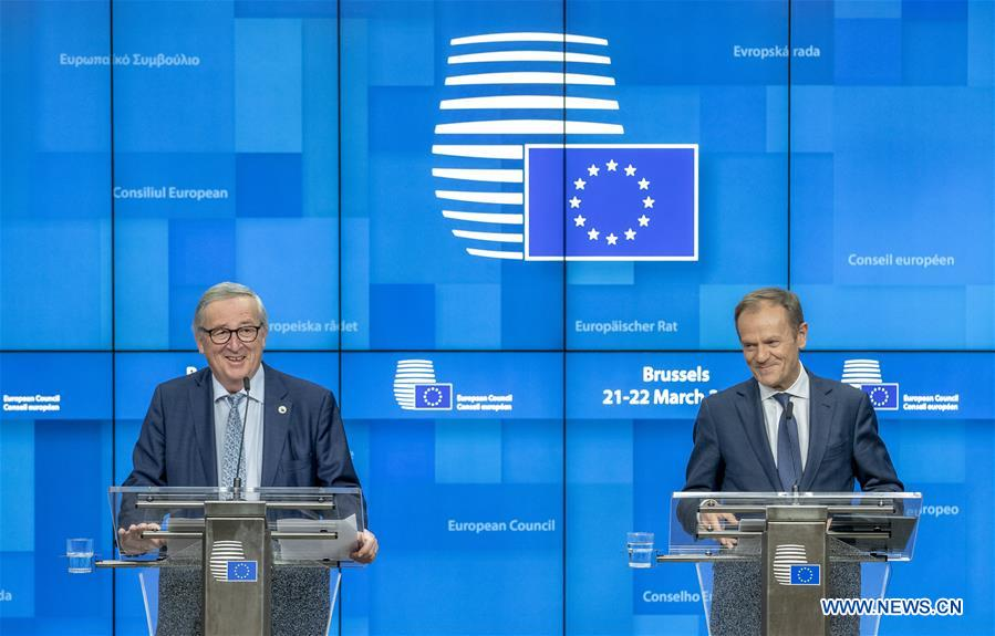 Press conference held after first-day meeting of EU's spring summit in Brussels