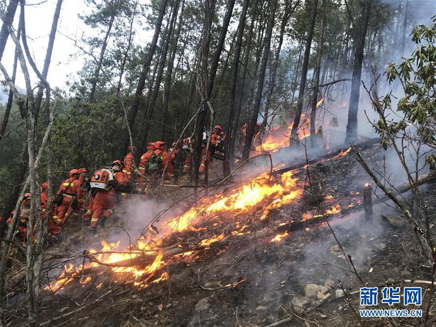 (新华网)(1)四川冕宁发生森林火灾 255名消防指战员前往扑救