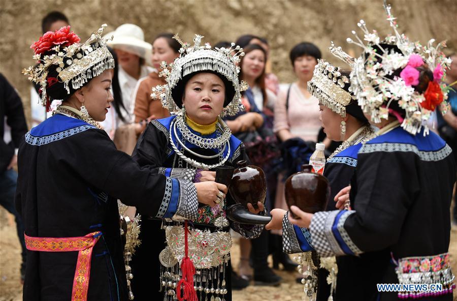 "Miao ethnic group celebrates ""San Yue San"" festival in SW China's Guizhou"