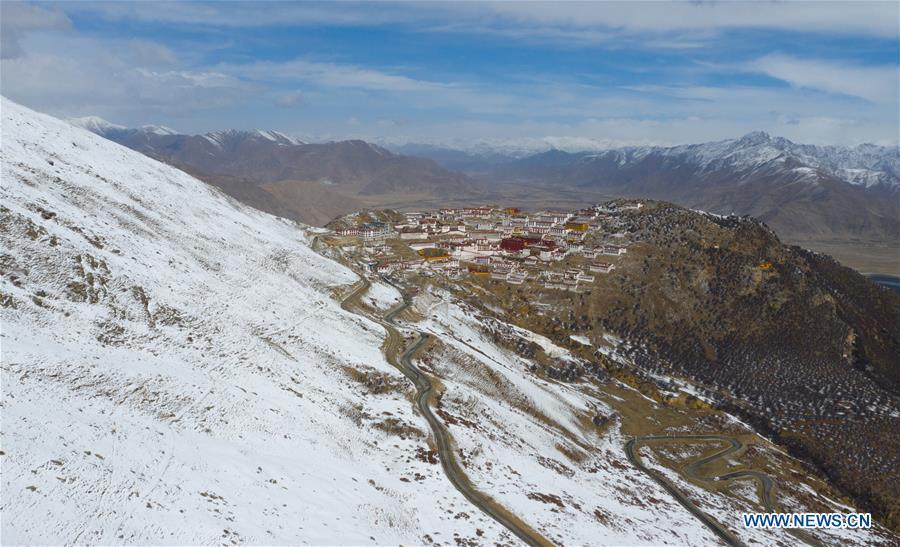 Aerial view of Gandan Temple in China's Tibet