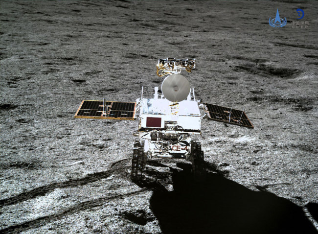 Photo taken by the lander of the Chang'e-4 probe on Jan. 11, 2019 shows the rover Yutu-2 (Jade Rabbit-2). [Photo: Xinhua/China National Space Administration]