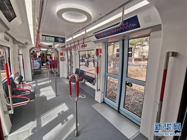Inside the low-floor train made by CRRC Changchun for the Tel Aviv light rail. [Photo: Xinhua]