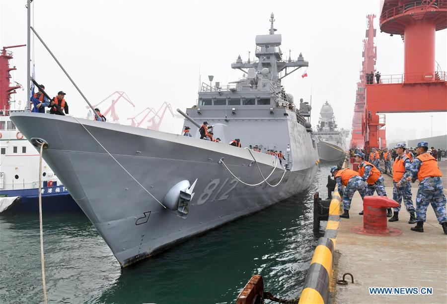 CHINA-QINGDAO-NAVY PARADE-FOREIGN VESSEL-ARRIVAL (CN)