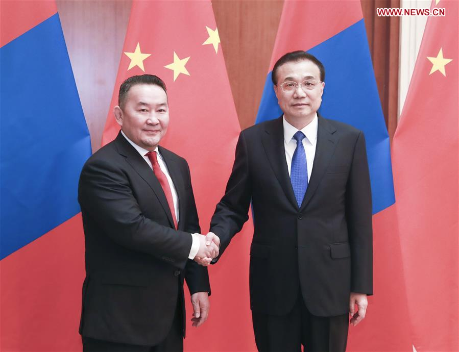 (BRF)CHINA-BEIJING-BELT AND ROAD FORUM-LI KEQIANG-MONGOLIAN PRESIDENT-MEETING (CN)