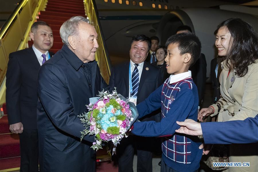 (BRF)CHINA-BEIJING-BELT AND ROAD FORUM-KAZAKHSTAN-NAZARBAYEV-ARRIVAL (CN)