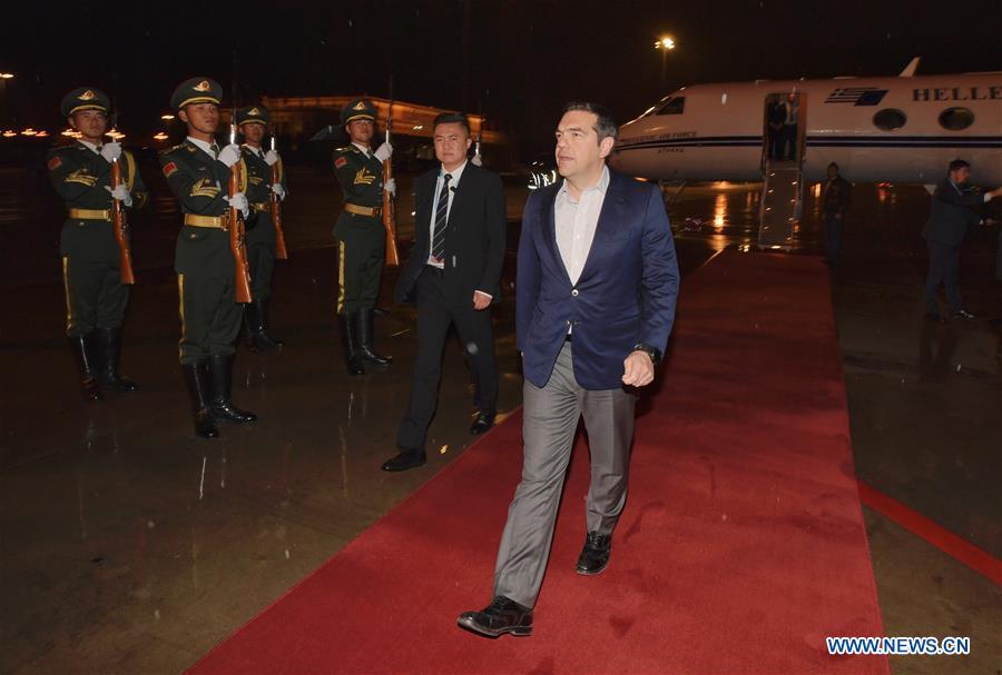 (BRF)CHINA-BEIJING-BELT AND ROAD FORUM-GREEK PM-ARRIVAL (CN)