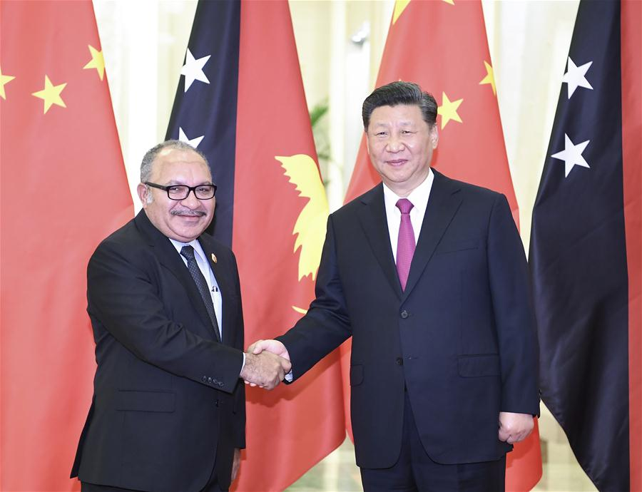 (BRF)CHINA-BEIJING-XI JINPING-PNG PM-MEETING (CN)