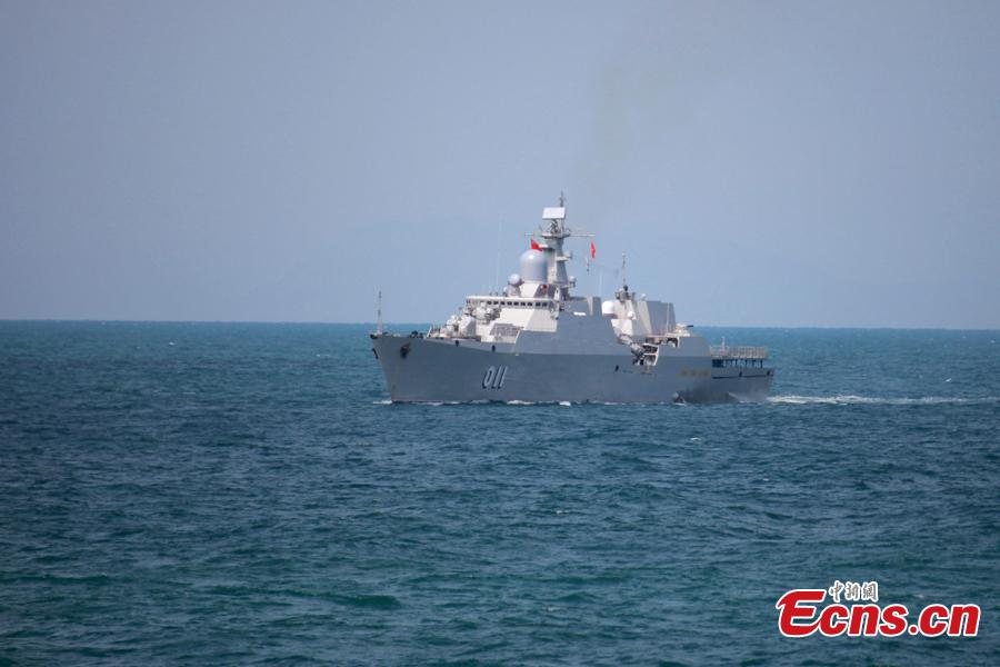 A Vietnam naval vessel participates in a joint naval exercise on the sea off Qingdao, east China\'s Shandong Province, April 26, 2019.  China conducted a joint naval exercise with Southeast Asian countries in Qingdao, with focus on jointly handling maritime emergency rescues. (Photo: China News Service/Li Chun)