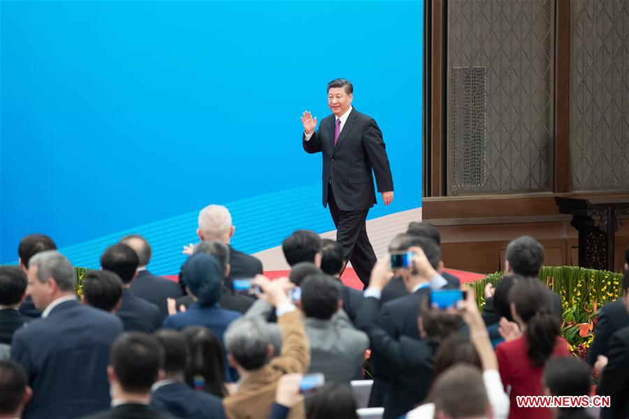 (BRF)CHINA-BEIJING-BELT AND ROAD FORUM-LEADERS' ROUNDTABLE-XI JINPING-PRESS CONFERENCE (CN)