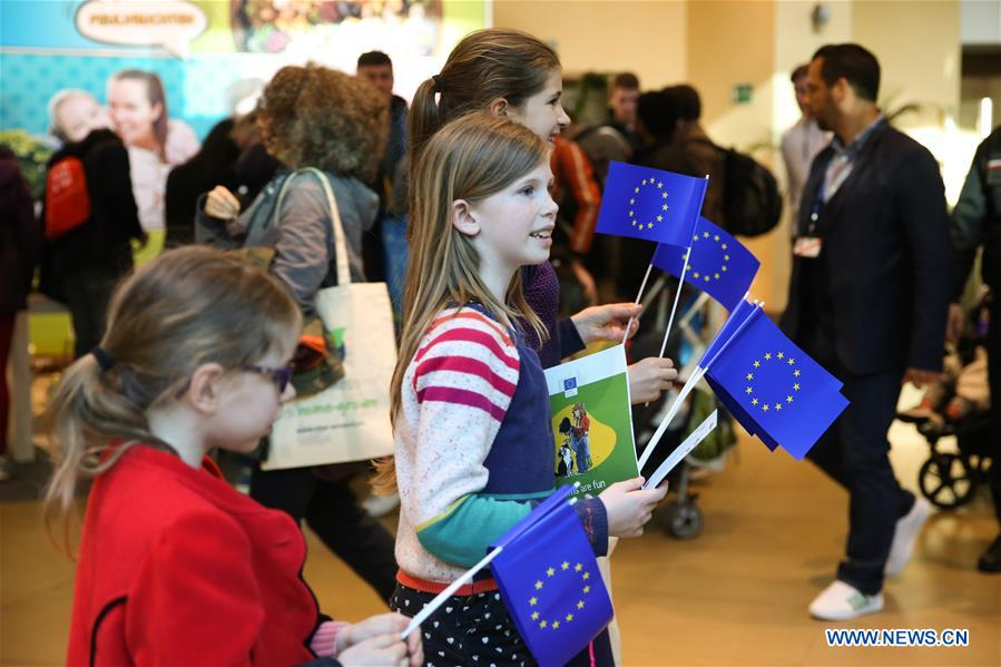 People visit European institutions' buildings in Brussels during Open Day