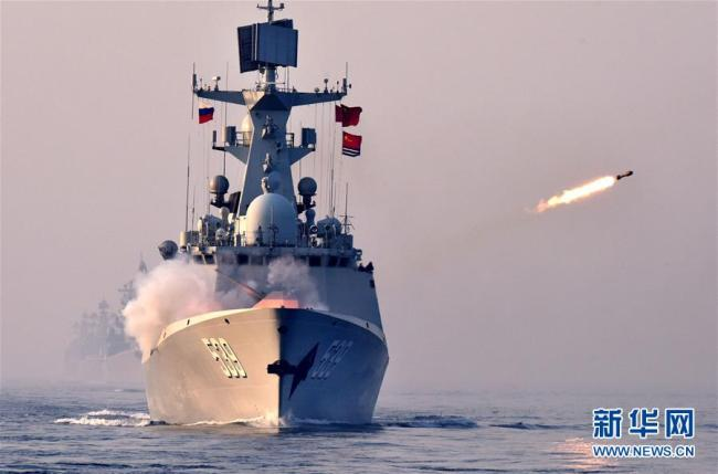 A Chinese naval vessel takes part in a China-Russia joint naval exercise on the sea off Qingdao, east China's Shandong Province, on May 3, 2019. [Photo: Xinhua]