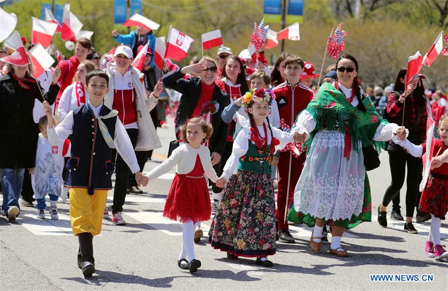 People participate in Polish Constitution Day Parade in Chicago, U.S.