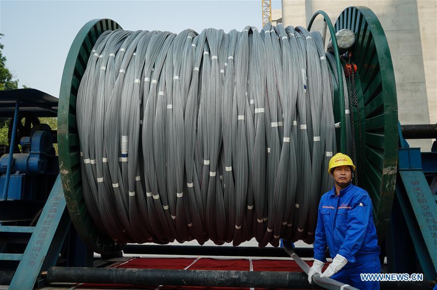 CHINA-JIANGSU-YANGTZE RIVER BRIDGE-MAIN CABLE-ERECTION (CN)