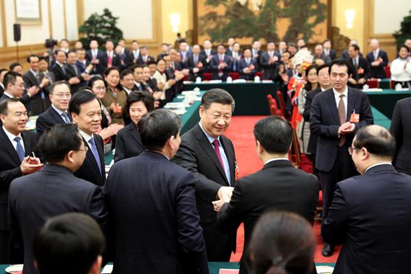 2018年3月10日,习近平参加十三届全国人大一次会议重庆代表团的审议。