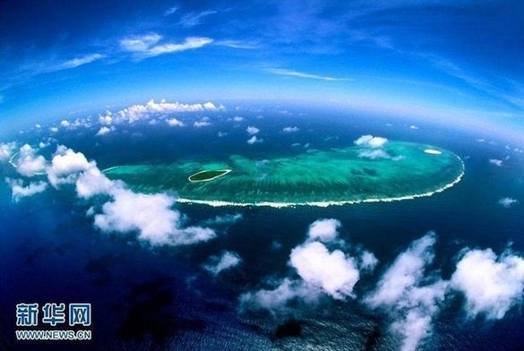 An aerial photo of the South China Sea. [File photo: Xinhua]<br/><p  align=
