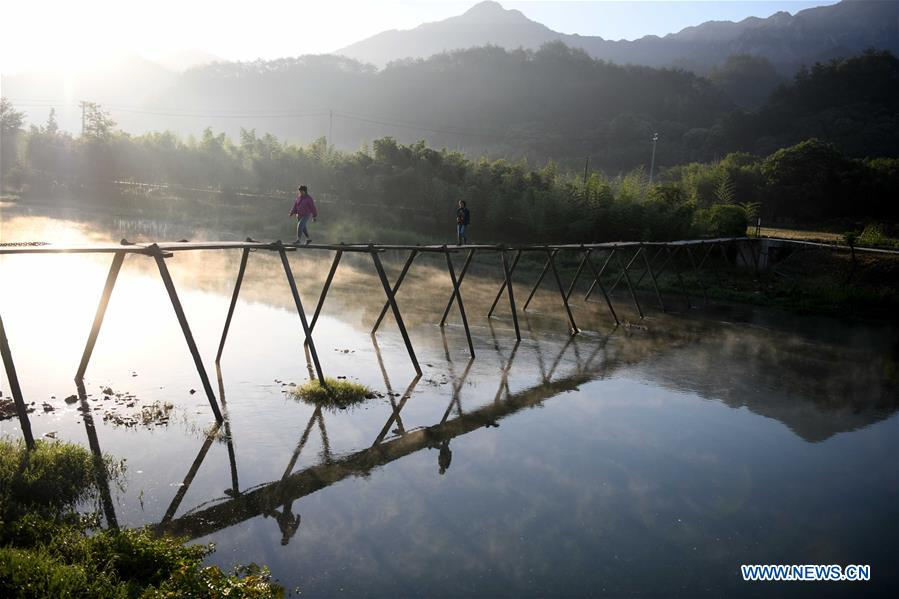 Morning scenery of Longchuan village in China's Anhui