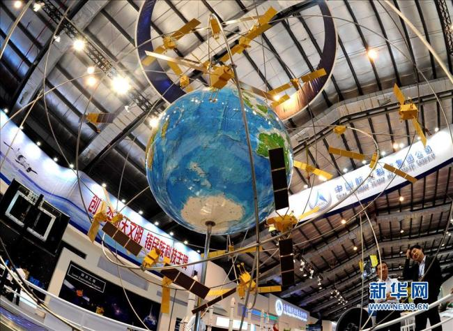 A model of the BeiDou Satellite Navigation system exhibited in Zhuhai [File photo: Xinhua]
