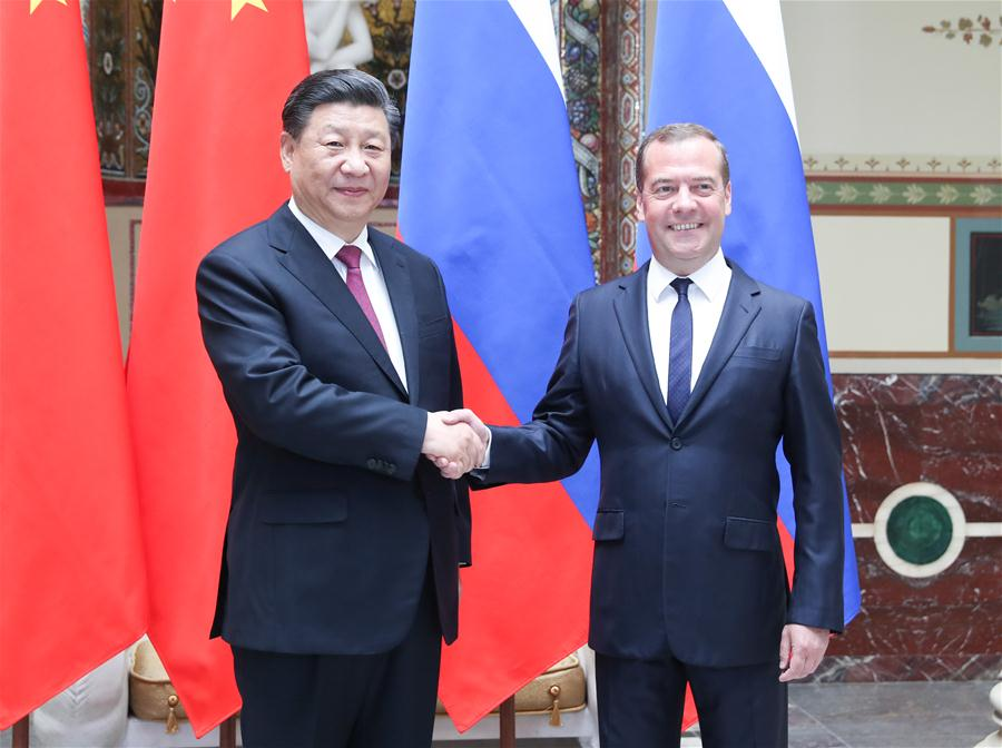 RUSSIA-MOSCOW-CHINA-XI JINPING-DMITRY MEDVEDEV-MEETING