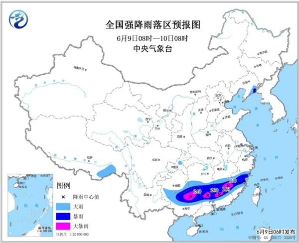 暴雨黄色预警:浙江福建广东等7省区有大到暴雨